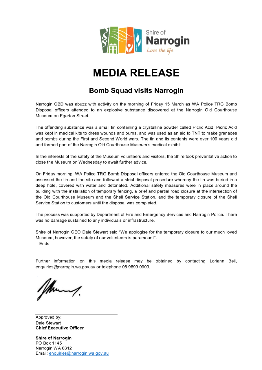 Media Release 15 March 2019