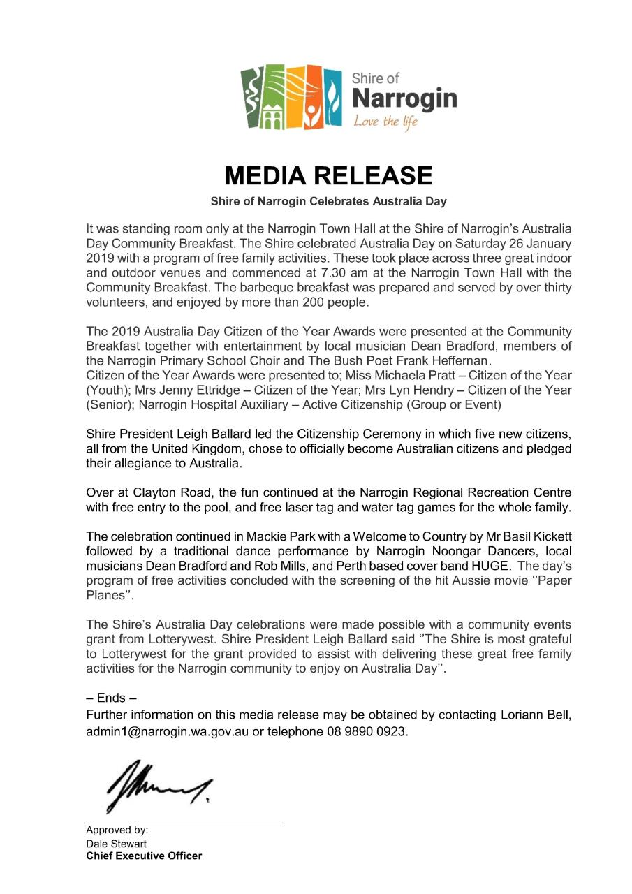 News Story - Media Release - Australia Day 2019 » Shire of