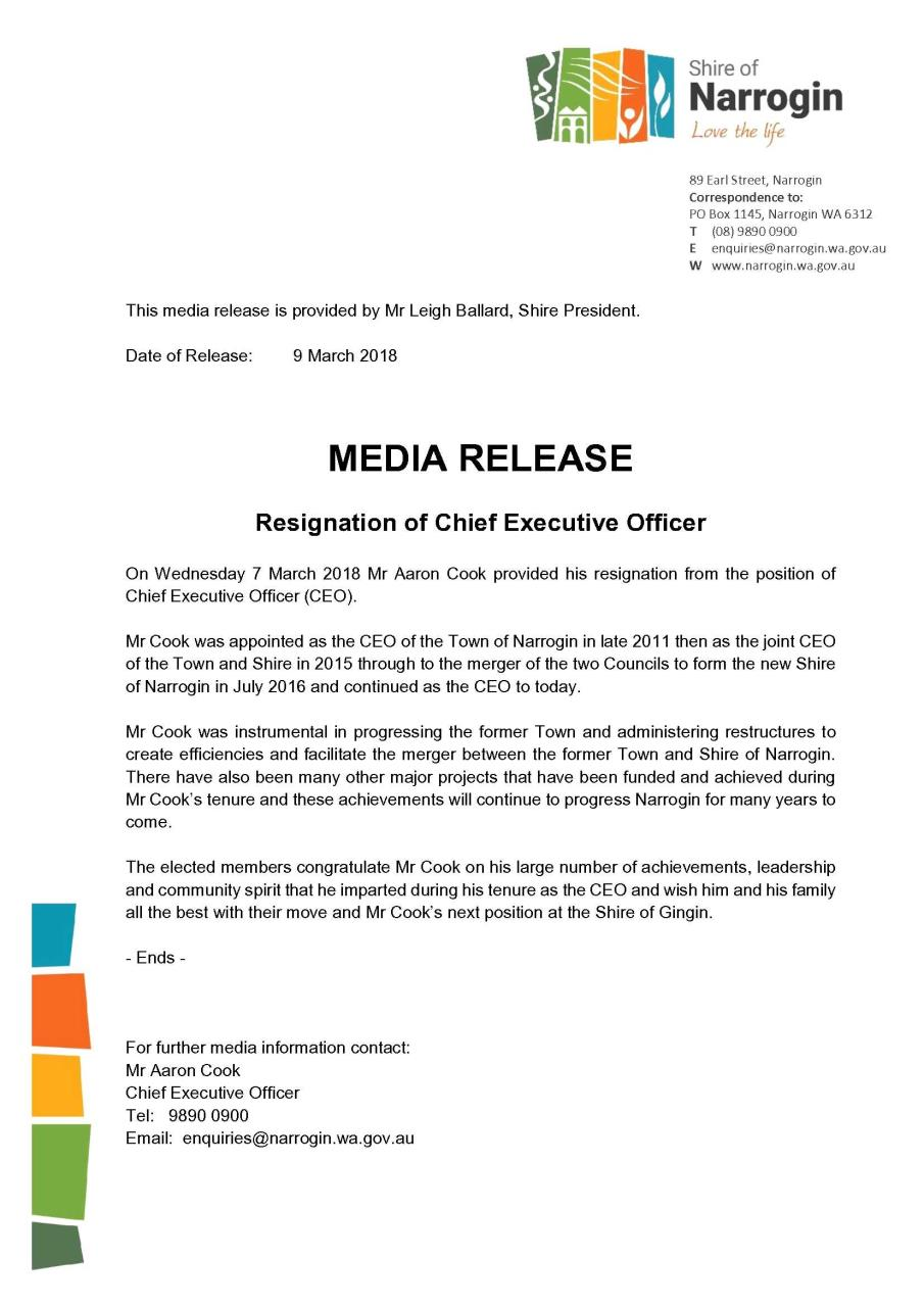 Media Release Resignation of CEO