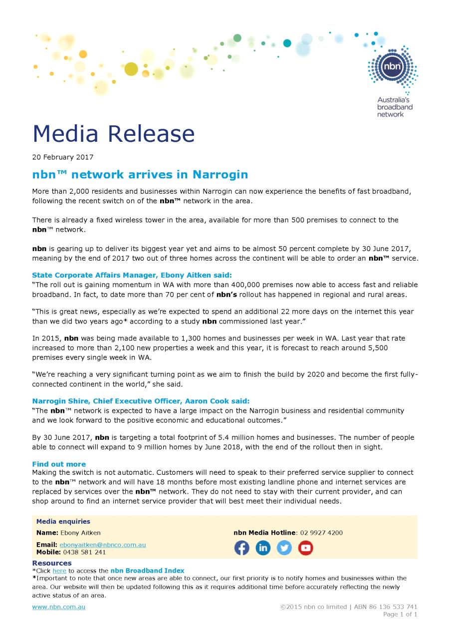 NBN Arrives IN Narrogin